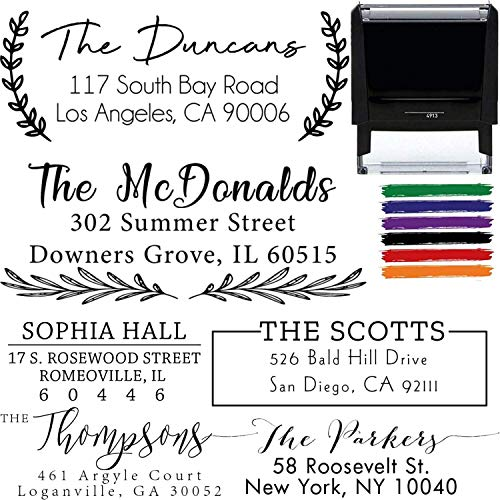 Custom Address Stamps Self Inking or Wood Handle 20+ Designs to Choose from! Return Address Stamp Stamper Self Inking Personalized Customized Stamp Return Address Floral Wedding Script Labels Mail
