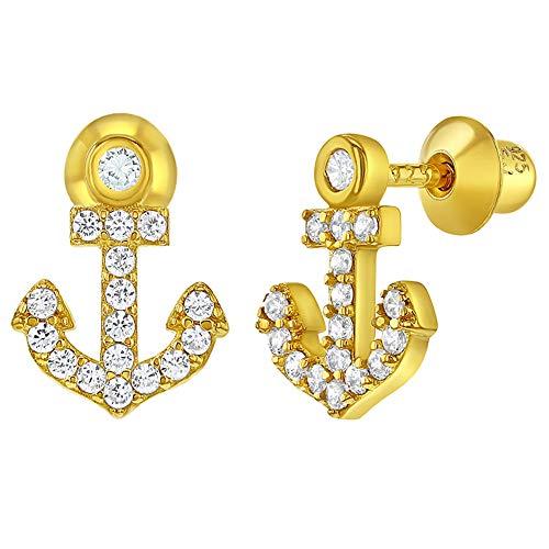 Ohrringe mit Anker-Schraubverschluss, 925 Sterlingsilber, klare Zirkonia, für Kinder und Mädchen