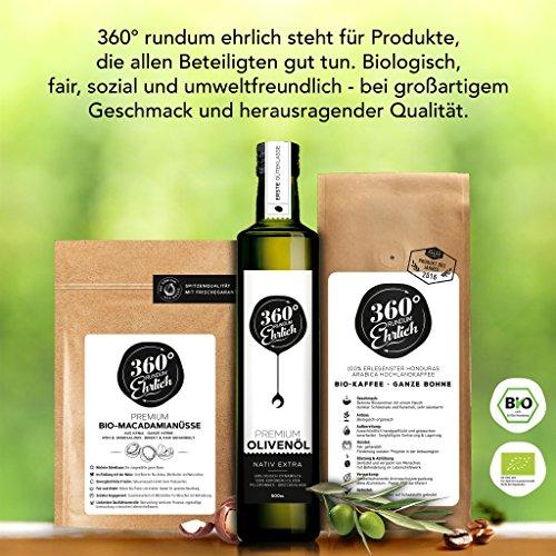 Premium Bio Olivenöl nativ extra | (Griechenland Kalamata / Sparta) von 360° rundum ehrlich | Mild, fruchtig, köstlich | Kaltgepresst, biodynamischer Anbau | Sortenreine Koroneiki-Oliven | 500ml - 5