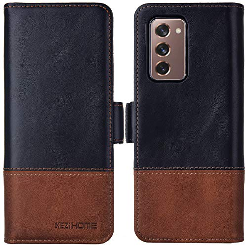 KEZiHOME Samsung Galaxy Z Fold 2 5G Case, Genuine Leather Galaxy Z Fold 2 Wallet Case [RFID Blocking] with Card Slot Flip Magnetic Case Compatible with Samsung Galaxy Z Fold 2 5G (Black/Brown)