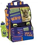 ZAINO SCUOLA WWF Adventure Tiger ORIGINALE ESTENSIBILE con borraccia + omaggio portachiave gioco cubo e penna colorata