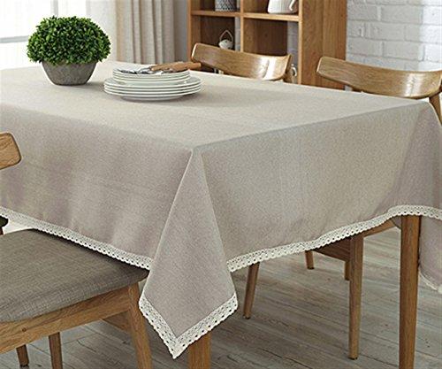 Ommda Moderno Mantel Antimanchas Rectangular Mantel Lavable con Borde de Encaje para Diseño de Comedor Jardin Cocina 140x220cm Beige
