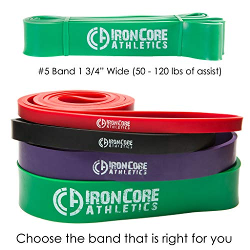 Iron Core Athletics Pull Up Assistance Bands - Commercial Gym Quality 41' Loop Exercise Pull-Up Bands - #5 Green 1 3/4' Wide (50-120lb) - Single Band