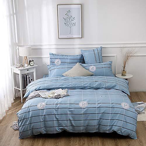 Bradoner Ropa de Cama Tira de algodón, Azul, Kit de impresión Activa y teñida en el Dormitorio, Cuatro Juegos de Fundas de Almohada * 2 / sábanas/Colcha (Size : B)