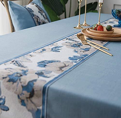 WangXL tafelkleed van linnen, naai-design, pure kleur, rechthoekig, waterdicht, gemakkelijk te reinigen, ideaal voor keuken, eettafel, buffet, picknick