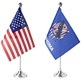 ZXvZYT 2 Pack American US Oklahoma flag USA Oklahoma OK State table flag,Small Mini United States Desk Flags With Stand Base,for U.S. States Party Events Celebration Decorations Supplies