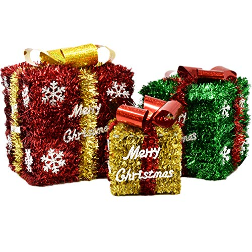 Gift Boutique Set of 3 Boxes Tinsel Red Green and Gold Small Medium and Large Present Boxes Christmas Decoration Indoor Yard Home Decor