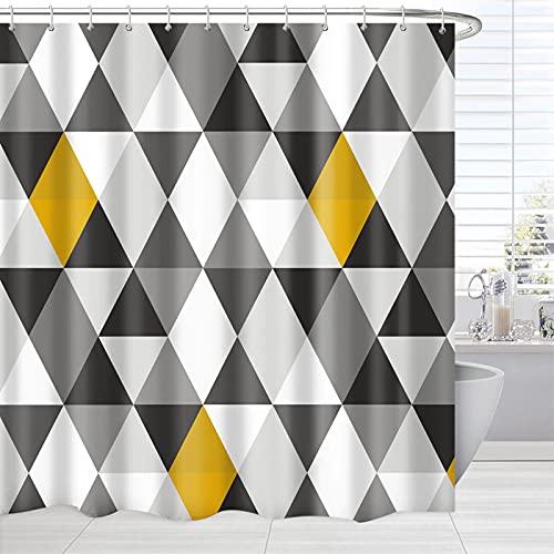 BROSHAN Geometrischer Stoff Duschvorhang, Grau Schwarz Weiß Gelb Dreieck Grafik Duschvorhang für Moderne Badewannenvorhang, Dreieckmuster Badezimmer Zubehör Set mit Vorhanghaken