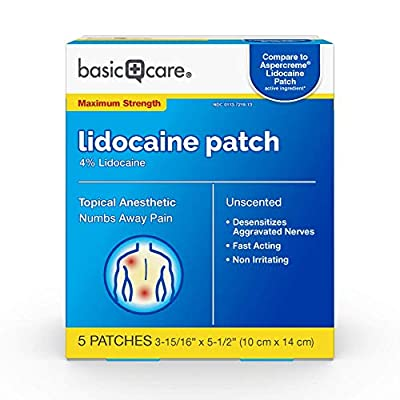 Amazon Basic Care Lidocaine Patch, 4% Lidocaine, Topical Anesthetic, Desensitizes Aggravated Nerves, 5 Count