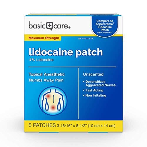Amazon Basic Care Lidocaine Patch, 4% Lidocaine, Topical Anesthetic, Desensitizes Aggravated Nerves, 5 Count