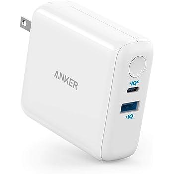 Anker PowerCore III Fusion 5000(PD対応 18W USB-C モバイルバッテリー搭載USB充電器 4850mAh) 【PowerIQ 3.0 (Gen2) / PD対応 / PSE認証済 / コンセント 一体型 / 折りたたみ式プラグ】 iPhone & Android各種対応 (ホワイト)