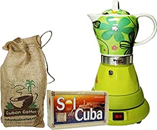 Electric Cordless Espresso Cuban Coffee Maker 4 Cups Color GREEN Includes Coffee in Beautiful Jute Bag