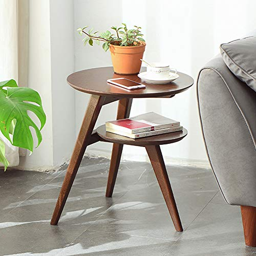 KAISIMYS Side Table Vintage, 2-layer Round Side Table with Wooden Frame and Storage Shelf, Coffee Table Sofa Table, Wooden Look Furniture Table, Vintage Brown, Home Office Living Room Bedroom