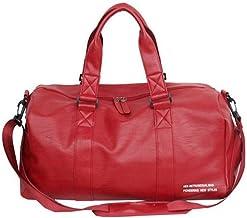 SMSOM Sporttas echt lederen gymtas reizen plunjezak, opvouwbare weekender tas voor mannen vrouwen waterdicht, rood (kleur:...