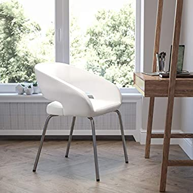 Flash Furniture Fusion Series Contemporary White LeatherSoft Side Reception Chair