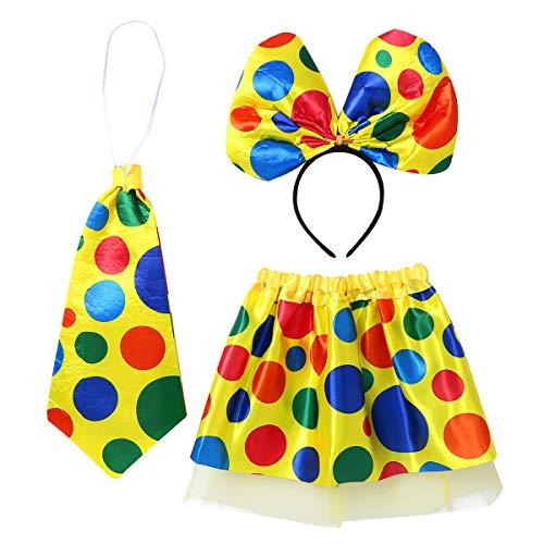 Alvivi Mädchen Clown Verkleidung Cosplay Zirkus Kostüm Polka Dots Tutu Rock+Haarreif+Krawatte Halloween Karneval Party Outfits Gelb Einheitsgröße