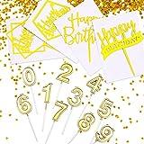Juego de decoración para tartas de cumpleaños, 20 unidades, 10 velas de cumpleaños y 10 velas de cumpleaños para fiestas de cumpleaños