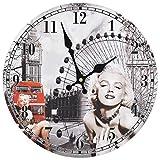 vidaXL Reloj Pared Vintage Retro Redondo Marilyn Monroe Londres Cocina Baño