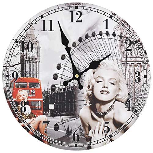 vidaXL Reloj Pared Vintage Retro Redondo Marilyn Monroe Lond