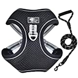 Vetasac Harness for Large Dogs No Pull Adjustable Reflective Breathable Mesh Dog Harness with Handle for Outdoor Training XB001 (3XL, Black)