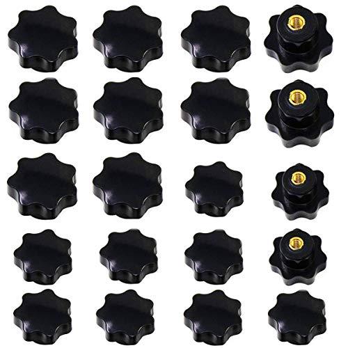 Osuter 20PCS Manopola di Serraggio a Filettatura Femmina Nera Bottone di Fissaggio Stella per Macchine Utensili(M6 e M8)