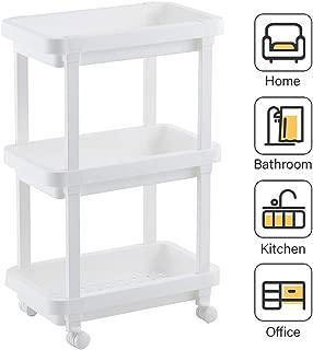 Aogist Rolling Storage Cart Organizer Shelf Rack Storage Tower Utility Cart for Kitchen Laundry Room Bathroom Office & Dresser (3-Tier, White)