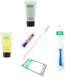 ECO amenities 6-Piece All-in-Kit-Soap-Body Lotion-Shampoo&Conditioner 2 in 1 -Toothbrush- Toothpaste-Hair Comb- Hotel Toil...