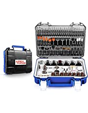 """Rotary Tool Accessories Kit, APEXFORGE 357 Pieces 1/8""""(3.2mm) Diameter Shanks Universal Fitment for Easy Cutting, Grinding, Sanding, Sharpening, Carving and Polishing-M0-Gray"""