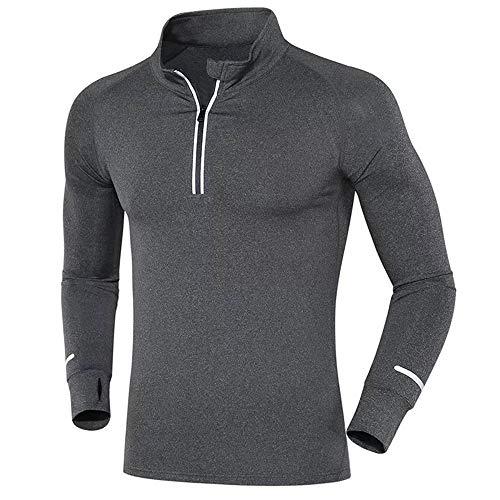 Generice Langarm Fitness Kleidung Herren Schnell Trocknend Running Training Kleidung Half-Zip Schnelltrocknende Strumpfhosen Gr. L, grau