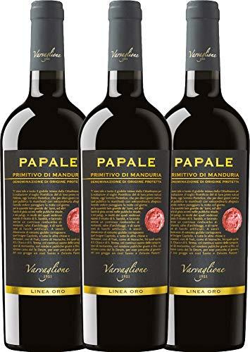 VINELLO 3er Weinpaket Primitivo - Papale Linea Oro Primitivo di Manduria 2016 - Varvaglione mit Weinausgießer | halbtrockener Rotwein | italienischer Wein aus Apulien | 3 x 0,75 Liter