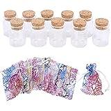KINDPMA MiniBotellasdeCristal con Corcho 20 Piezas BotellasdeDeseo Bote Cristal Decoracion Botella de Mensaje para Bricolaje y Artes Decorativas Tamaño 37 x 40cm