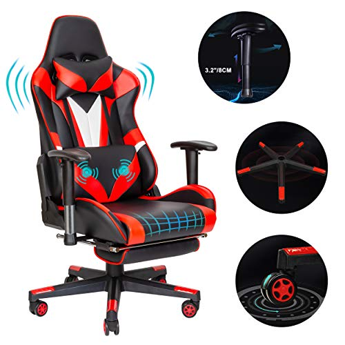 Scurrty Professional Gaming Chair Ergonomic Office Chair Gaming Massage Chair Red Computer Chair for Adults Video PC Chair Racing Reclining Adjustable Computer Gaming Chair with Footrest