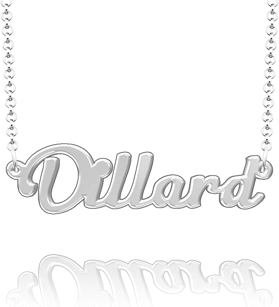 LoEnMe Jewelry Dillard Name Necklace Stainless Steel Plated Custom Made of Last Name Personalized Gift for Family