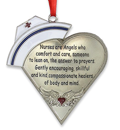 BANBERRY DESIGNS Nurse Heart Shaped Ornament with Message - Engraved Silver Metal with Hand Painted Enamel Caduceus Hat & Heart with Angel Wings - 4' - Gift Boxed