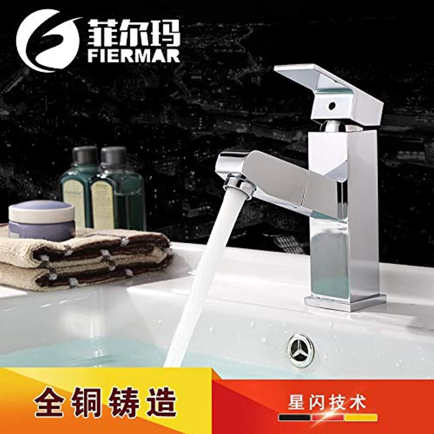 PajCzh Taps Taps Faucet Faucet All-Copper Basin Telescopic Pull-Type Hot And Cold Mixing Faucet Single-Hole Washbasin Washbasin Mixer, A, 1
