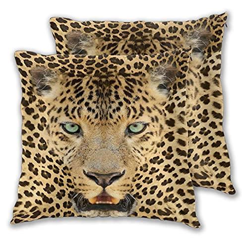 NANITHG 2er Set Dekorativ Kissenbezüge 45 x 45 cm,Leopard Predator Animal mit fleckiger Haut und Wilder Ausdruck Wilder Fauna,Weicher Kissen Fall Dekokissen Kissenhülle Sofa Auto Zuhause Dekor