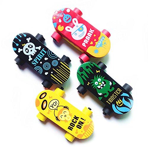Kreativer niedlicher Kawaii-Skateboard-Radierer aus Gummi für Kinder, Geschenk, Schulbedarf, brillante Schreibwaren, 5 Stück