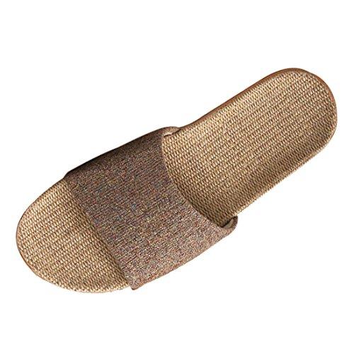 HST Zapatillas de Interior para Hombres y Mujeres Zapatillas de Casa Zapatillas de Lino Absorbentes de Sudor Transpirables de Verano, Zapatos Antideslizantes Café 41