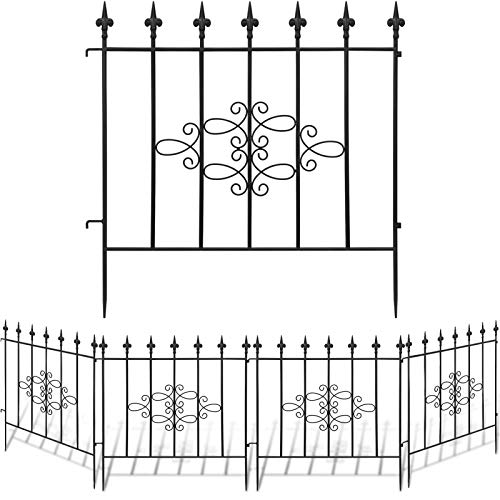 AMAGABELI GARDEN & HOME Decorative Garden Fence GFP008 27inx10ft Outdoor Coated Rustproof Metal Garden Fencing Panel Animal Barrier Iron Folding Edge Wire Border Fence Ornamental for Patio Landscape