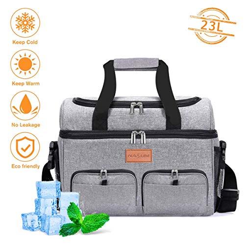 NASUM Kühltasche für Lebensmittel, Kühltasche, Kühltasche oder warme Taschen für Picknicks, Aktivitäten im Freien/Grill/Camping/Sport/Reisen (23 l)