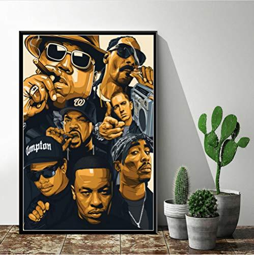 ARTMERLOD Plakatkunst Dekor Hip Hop Legende Old School 2Pac Biggie Smalls Wu-Tang NWA Rap Star Wandkunst Leinwand Gemälde ohne Rahmen 50X70Cm