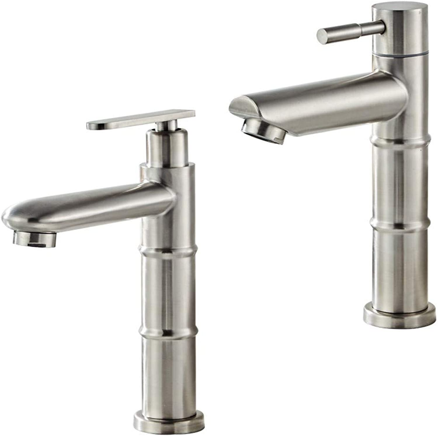Zhcmy ?304 Stainless Steel Single Cold Bamboo Faucet Bathroom Basin Faucet