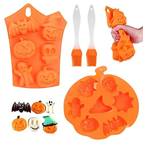 Molde de silicona para hornear de calabaza de Halloween,molde de silicona de calavera,molde para pasteles,molde para galletas,molde para hacer cubitos de hielo,hacer comida fácil