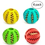 4 Pack Pet Toy Ball for Dogs - Non-Toxic Bite Resistant Soft Rubber Bouncy Ball - Dog Food Treat Feeder Tooth Cleaning - Pet Exercise Game Ball IQ Training Ball, Red Green Blue Yellow, 2''
