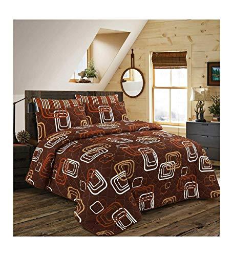Islander Fashions Luxuri�se Gesteppte Tagesdecke Bed Throw Bedding Decor Pillow Shams Blake Schokolade 240X260 cm