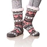 Dosoni Women's Snowflake Fleece Lining Knit Christmas Knee Highs Stockings Slipper Socks (Gray/Pink)