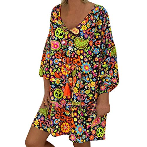 SANFASHION Robe ete Femmes Sexy, Robe Casual Chic Robe Longue Florale Boheme Coton Lin Robe Vintage Manches Courtes Lache Mini Robe Été Loose Grande Taille (Marine,42FR/S)