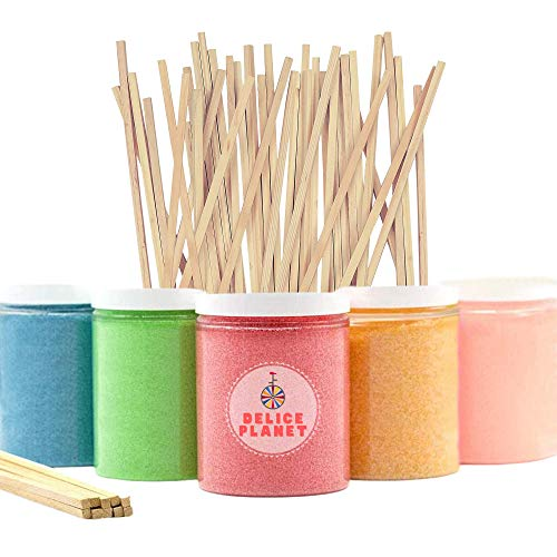 Pack de 5 Tarros para Algodón de Azúcar de Sabores + 20 Palos de Madera Reutilizables. 5 Botes de Azúcar para hacer Nubes Dulces de Algodón + 20 Varillas de Regalo
