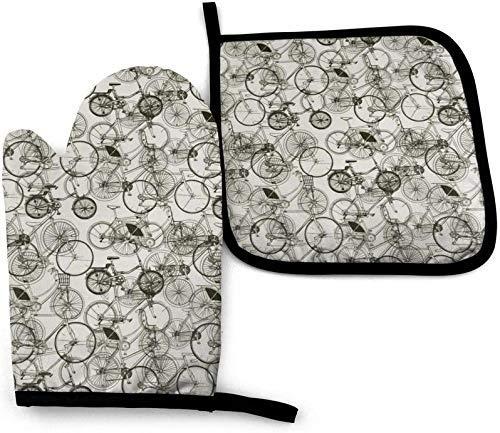 N\A Guantes de Cocina de manopla de Horno de Bicicleta Retro Vintage y Soporte de Olla con bucles para Colgar, Resistente al Calor, Antideslizante, Lavable Seguro