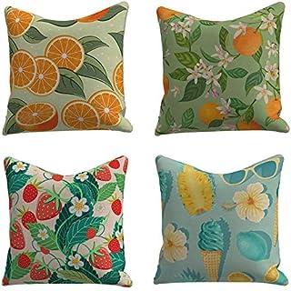 ZLXIONG Set med 4 linne bomull/linne kuddöverdrag kuddöverdrag soffa kudde fyrkantig prydnadskudde orange jordgubbe glass ...
